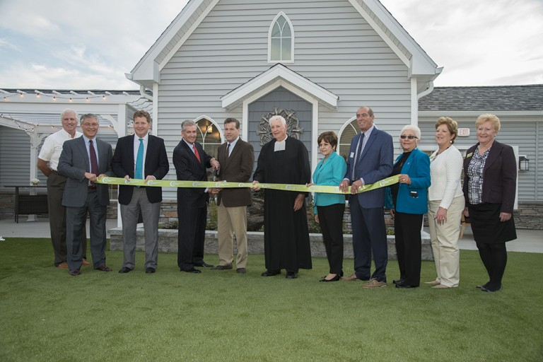Peregrine Senior Living at Colonie Ribbon Cutting in Courtyard